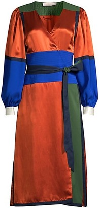 Tory Burch Colorblock Silk Wrap Dress