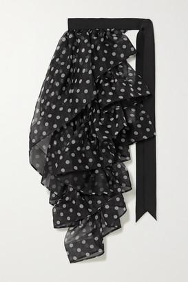 Dries Van Noten Ruffled Polka-dot Silk-georgette And Grosgrain Belt - Black