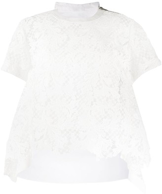 Sacai sheer lace T-shirt