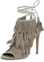 Aquazzura Fringe Suede 105mm Sandal, Light Gray