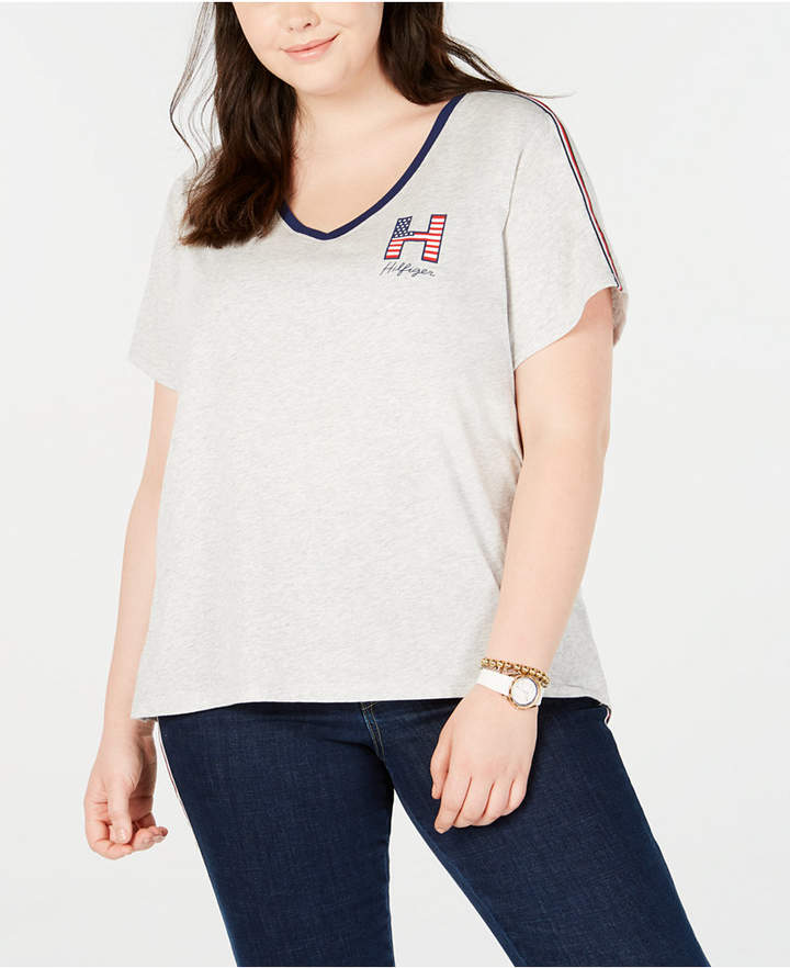 Tommy Hilfiger Plus Size Striped V-Neck Graphic T-Shirt