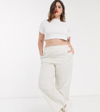 Asos DESIGN curve linen slide pants in stripe