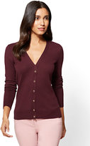 New York & Co. 7th Avenue - Chelsea V-Neck Cardigan - Jeweled Buttons - Tall