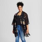 Xhilaration Women's Plus Size Printed Floral Kimono Black