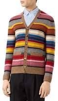 Gucci Striped Wool V-Neck Cardigan, Multicolor