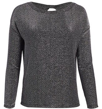 Paige Celeste Keyhole-Back Metallic Knit Top