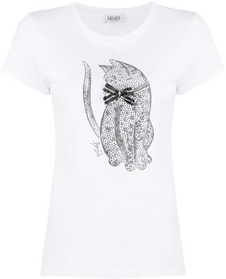 Liu Jo cat print fitted T-shirt
