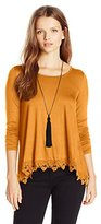 My Michelle Juniors Long Sleeve Knit Top with Necklace