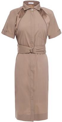 Brunello Cucinelli Bead-embellished Silk-trimmed Stretch-cotton Poplin Dress