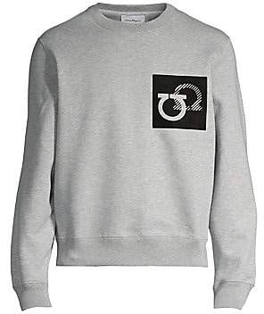 Salvatore Ferragamo Men's Suede Gancini Patch Sweatshirt