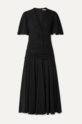 Michael Kors Knotted Stretch-jersey Midi Dress - Black