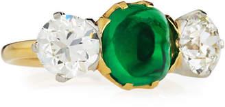 Tiffany & Co. NM Estate Estate Edwardian Sugarloaf Emerald & Diamond Ring, Size 6