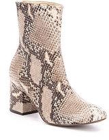 Free People Cecile Leather Snake Print Block Heel Mid Calf Booties