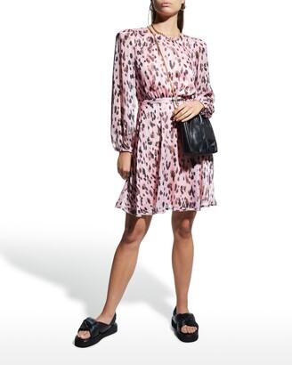 Milly Metallic Leopard Stripe Burnout Dress