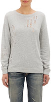 R 13 Women's Distressed French Terry Sweatshirt-GREY