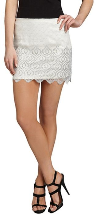 Free People ivory and silver lurex 'Lovely Lace' mini skirt