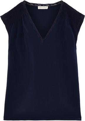 Rebecca Taylor Lace-trimmed Shirred Silk Crepe De Chine Top