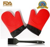 RC Heat Resistant Food Grade Silicone Gloves Oven Mitt (Red) with Black Cotton Sleeve 1 Pair + Sauce Brush for Cooking/ Barbecue/ Grilling (Black)