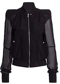Rick Owens Women's Zionic Sheer-Sleeve Silk & Wool Bomber Jacket