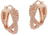 Judith Ripka As Is Sterling & 14K Clad Crossover Hoop Earrings