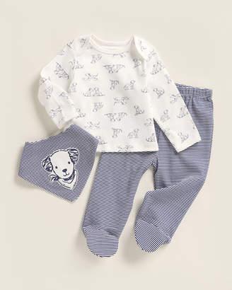 Little Me Newborn Boys) 3-Piece Puppy Top & Footed Pants Set