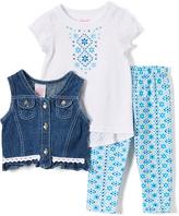 Nannette Blue Geometric Cap-Sleeve Top & Leggings - Infant & Toddler