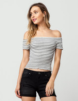 Eyeshadow Striped Smocked Off The Shoulder Womens Top
