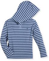 Ralph Lauren Stripe Waffle-Knit Hooded T-Shirt, Size 5-7