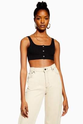 Topshop Womens Black Tortoiseshell Button Bralet - Black