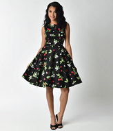 Unique Vintage 1950s Style Black Cherry & Floral Sleeveless Belted Swing Dress