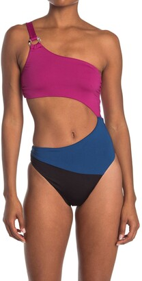Bikini Lab Colorblocked Cutout One-Piece Swimsuit