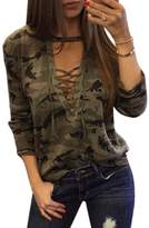 Ai.Moichien Women Sexy Deep V Neck Lace Up Shirts Long Sleeve Camouflage Tees Tops