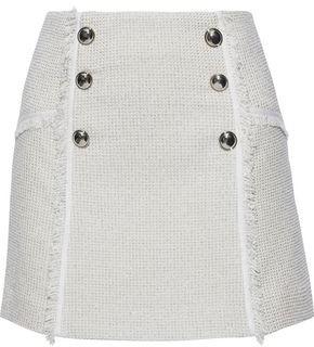 Veronica Beard Starck Button-embellished Metallic Cotton-blend Tweed Mini Skirt