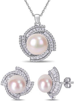 Pearls Silver 9.5-12Mm Freshwater Pearl & Cz Earrings & Pendant Necklace Set