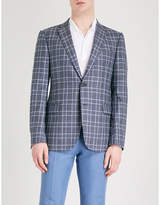 Emporio Armani Checked modern-fit wool and silk-blend jacket