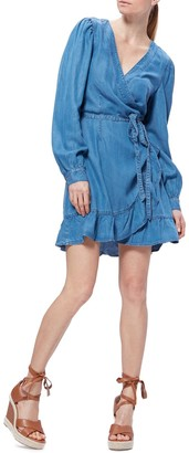Paige Kendry Long Sleeve Denim Wrap Dress