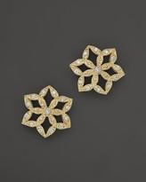 Mizuki 14K Yellow Gold Diamond Flower Crest Earrings
