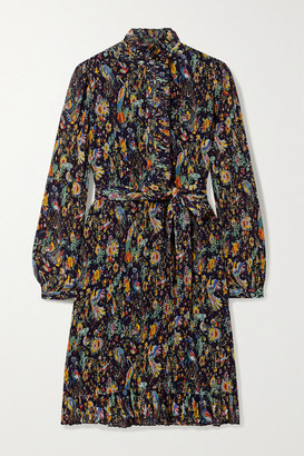 Tory Burch Deneuve Ruffled Floral-print Plisse-georgette Dress - Black