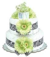 Bloomers Baby Safari Diaper Cake with Lime Green Daisies