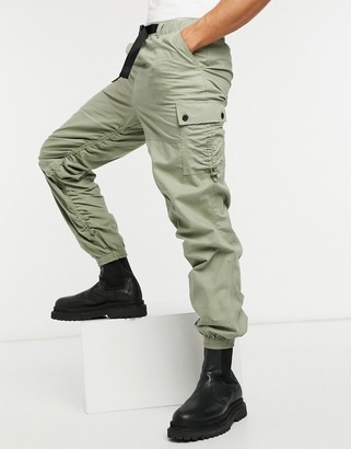 ASOS DESIGN tapered cargo pants with ruching detail