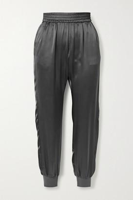 CAMI NYC The Sadie Silk-charmeuse Track Pants - Gray