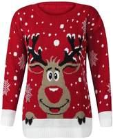 Forever Womens Rudolph Reindeer Print Snowflake Christmas Jumper