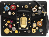 Dolce & Gabbana Lucia Watersnake-trimmed Embellished Brocade Shoulder Bag - Black