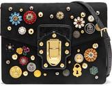 Dolce & Gabbana Lucia Watersnake-trimmed Embellished Brocade Shoulder Bag