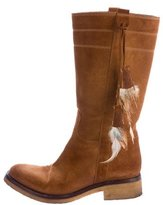 Sartore Feather Embellished Mid-Calf Boots