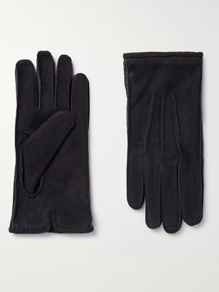 Loro Piana Damon Baby Cashmere-Lined Suede Gloves - Men - Blue