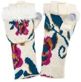 Muk Luks Women's Floral Long Flip Mittens - Vanilla