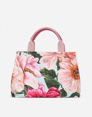 Dolce & Gabbana Camellia-Print Canvas Bag