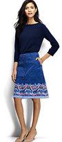 Lands' End Women's Petite Chino A-line Skirt-Sail Blue Paisley