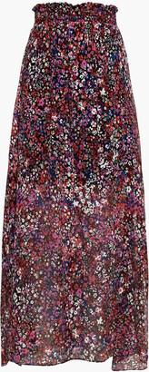 Maje Shirred Floral-print Silk-crepon Maxi Skirt